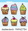 cute hand drawn cupcakes set, design elements - stock vector