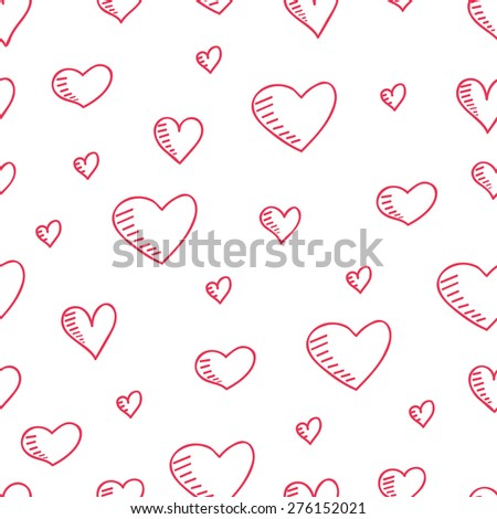 Cute hand-drawn seamless pattern with hearts. raster version illustration can be copied without any seams. - stock photo