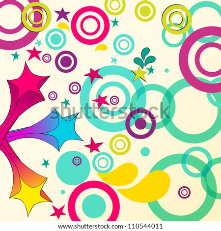 Cute, hand drawn style abstract background with colorful stars