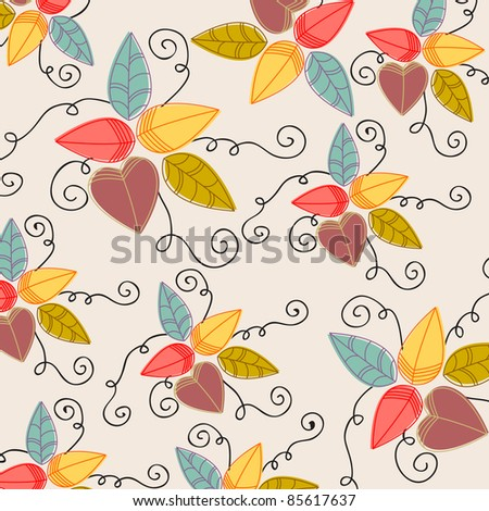 Cute hand drawn style autumn leaves illustration - stock photo