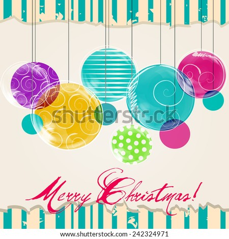 Cute hand drawn style Christmas greeting card with tree ornaments - stock photo