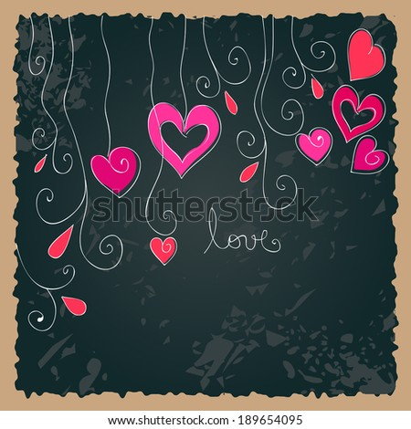 Cute hand drawn style floral romantic Valentine's Day background - stock photo