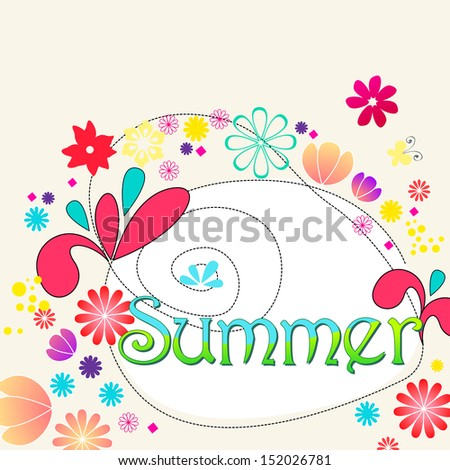 Cute hand drawn style illustration of summer text with flowers