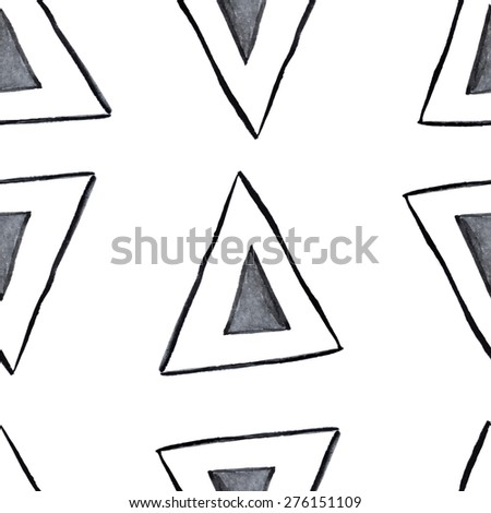 Cute hand drawn watercolor seamless pattern with triangles. Geometric background in black and white colors. Handdrawn monochrome texture. raster version illustration can be copied without any seams. - stock photo