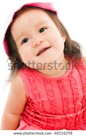 Cute happy asian baby using a hat - stock photo