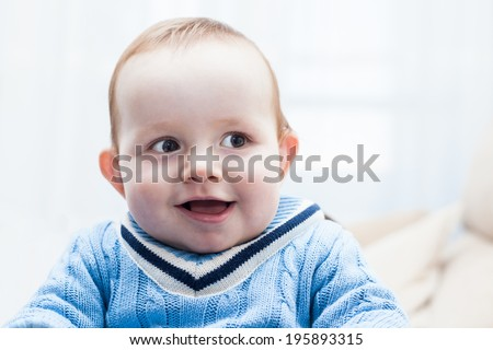 Cute happy baby boy - stock photo