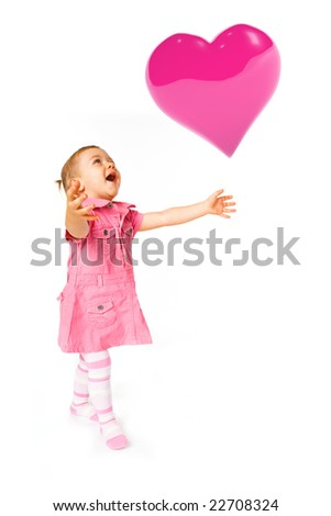 Cute happy baby girl with heart baolon