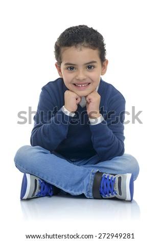 Cute Happy Boy Sitting Isolated on White Background - stock photo