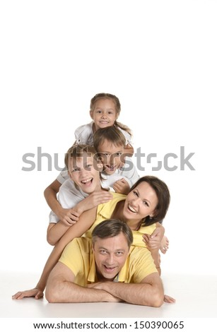 Cute happy family isolated on white background - stock photo