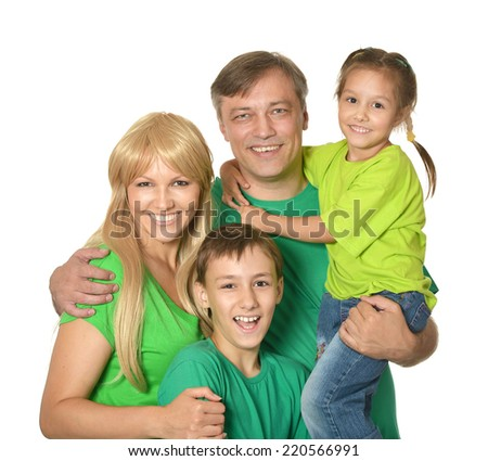 Cute happy family isolated on white background