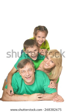 Cute happy family on a white background - stock photo