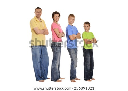 Cute happy family posing isolated on white background - stock photo