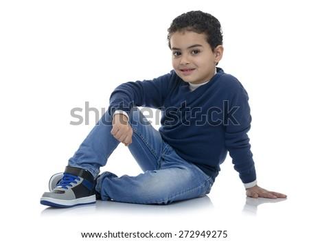 Cute Happy Fashion Boy Isolated on White Background - stock photo