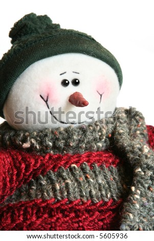 Cute happy little snowman - stock photo