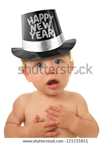 Cute Happy New Year Baby studio isolated on white.