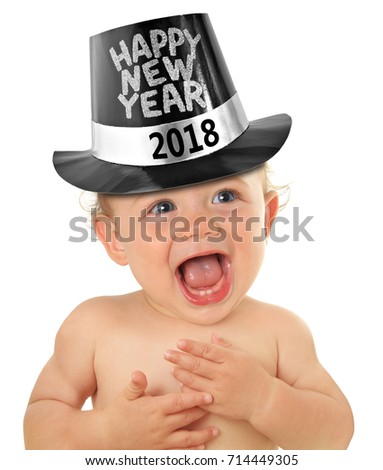 Cute Happy New Year Baby 2018, studio isolated on white.