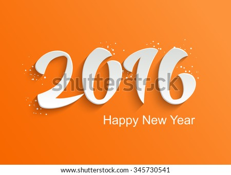 Cute Happy New Year Greeting Card with Hand Lettering 3D Text on Orange Background