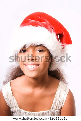 cute happy smiling girl in santa hat on white background - stock photo