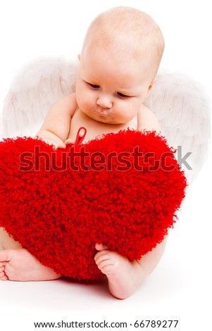 Cute happy valentine angel playing with red hearts - stock photo