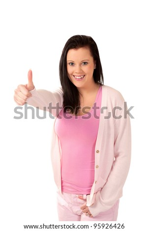 Cute happy woman thumbs up