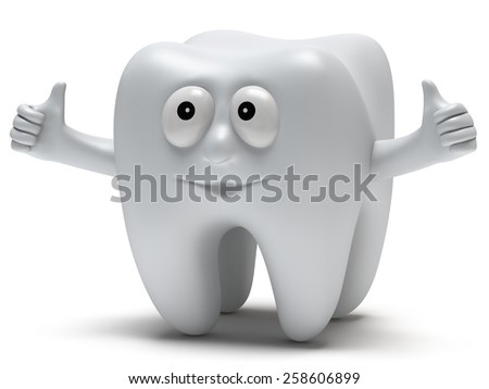 Cute healthy tooth with hands shows thumbs up isolated on white background. 3D render. Dental, medicine, health, like concept. - stock photo
