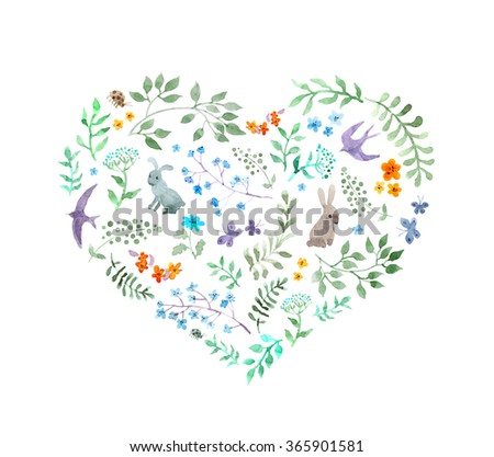 Cute heart with vintage flowers, rabbits, birds for Valentine day. Watercolor - stock photo