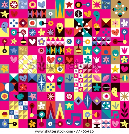 cute hearts, stars and flowers abstract art pattern