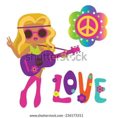 Cute hippie girl with guitar - stock photo