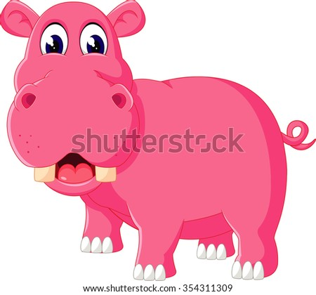 Cute hippo cartoon of illustration