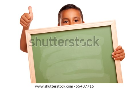 Cute Hispanic Boy Holding Blank Chalkboard and Thumbs Up Isolated on a White Background. - stock photo