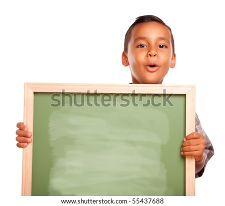 Cute Hispanic Boy Holding Blank Chalkboard Isolated on a White Background. - stock photo