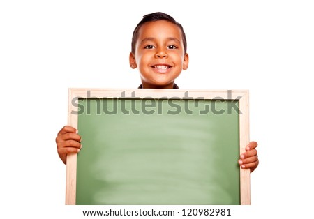 Cute Hispanic Boy Holding Blank Chalkboard Ready for Your Own Message Isolated on a White Background. - stock photo