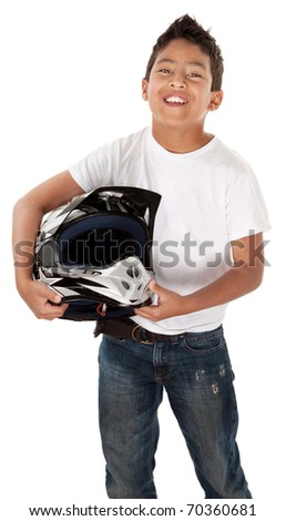 Cute Hispanic youth racer smiling with helmet in hand on white background - stock photo