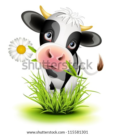 Cute Holstein cow in green grass - stock photo