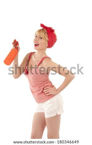 Cute housewife - stock photo