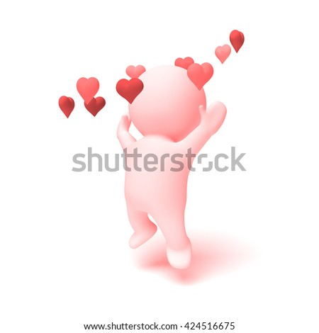 cute human 3d character in shades of pink cheering happily in a ring of  hearts (3D illustration isolated on a white background) - stock photo