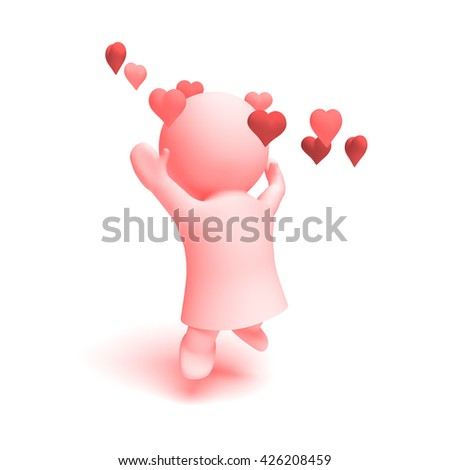 cute human 3d character in shades of pink wearing a dress cheering happily in a ring of  hearts  (3D illustration isolated on a white background) - stock photo