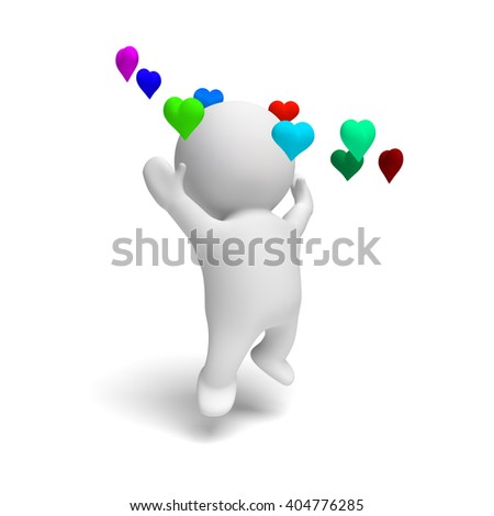 cute human 3d person jumping happily in a ring of colorful hearts in a white scene (3D illustration isolated on a white background) - stock photo
