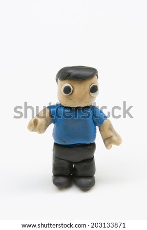 Cute Human made by clay sculpting on white background - stock photo