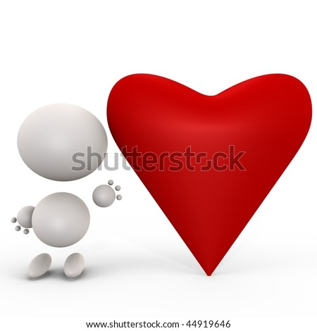 Cute human with a red heart, isolated 3d image - stock photo