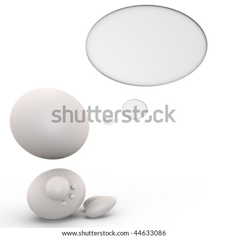 Cute human with a thinking bubble - 3d image - stock photo