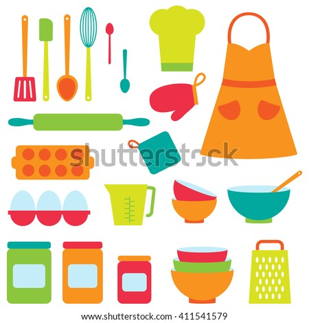Cute icons collection on baking theme. Raster version - stock photo