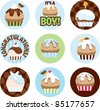 Cute illustrated circles for a boy's party with a cupcake theme. - stock photo