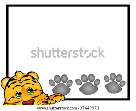 Cute illustrated tiger with a simple frame. Celebrate year of the tiger. - stock photo