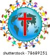 Cute illustration of a group of happy and diverse children holding hands around the world with a red cross symbol designed onto it. Christian concept image. - stock photo