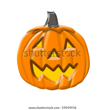Cute illustration of a Halloween Pumpkin or Jack-O-Lantern isolated over white background