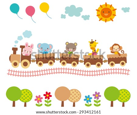 """Cute illustrations for children """"balloons and sun and animal train"""" - stock photo"""