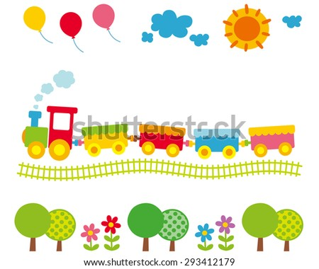 """Cute illustrations for children """"balloons and sun and the colorful train"""" - stock photo"""
