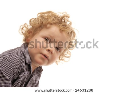 Cute Image of a Little boy peeping  on white