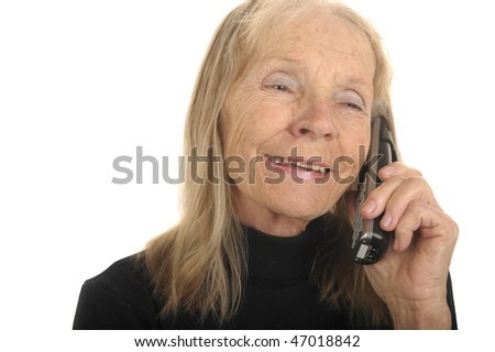 Cute Image Of a Senior woman On Phone - stock photo